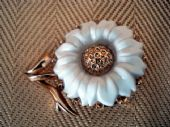 Vintage White and Gold Flower Earrings by Trifari (SOLD)